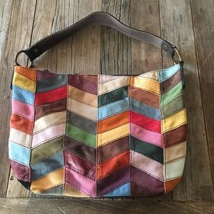 Lucky Brand Multicolor Patchwork Leather Suede Bag